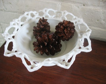 Sale Vintage Ornate Farmhouse Milk Glass Bowl - Cottage Chic