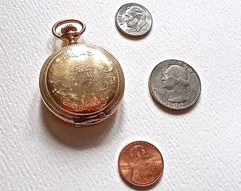 Antique Ladies Waltham Pocket Watch  C.W.C. Co 14K Gold Plated Runs