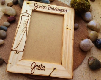 Wedding Favor for your Junior Bridesmaid Her Exact Dress Hand Engraved on the Wood Frame & Personalized with Her Name