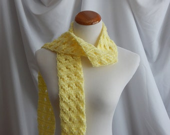 Crochet Skinny Scarf - Extra Long in Pale Yellow