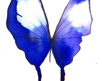 """violet purple and blue butterfly original watercolour painting 7 x 5"""""""