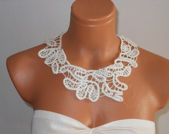 Romanian point lace necklace,needle lace necklace,collar necklace,hand made,ooak,embellisment with crystal beads