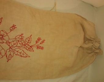 Antique Embroidered Red Work , Linen Laundry Bag , Gold Rush family , Pomfret