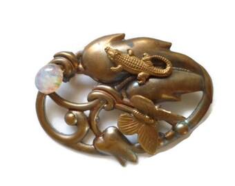 Art Nouveau Brooch Lizard Moonstone and Butterfly Copper Wash on Brass