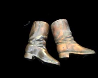 Pair Of Copper Boots , Enfield Rifle , Match Safe ,Souvenier 1907 , Match Holders