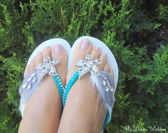 ON SALE Havaianas turquoise Flip Flops. Original Australian Starfish, SWAROVSKI and Cz crystals..-Havaianas  Collection 404-turquoise