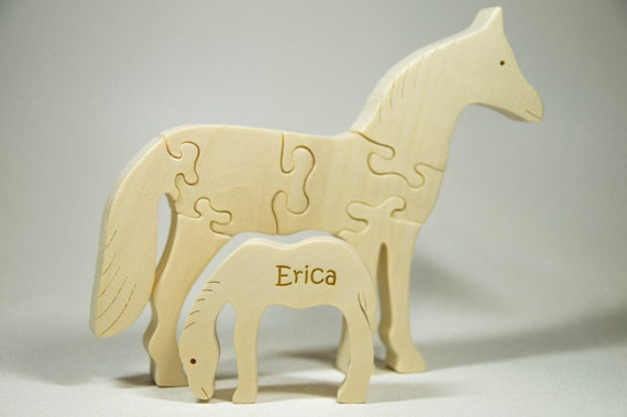 Wooden Animal Puzzle, Horse Animal Puzzle = Personalized Horse with Baby Nursery Decor, Baby Shower, Christmas Gift