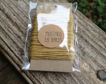 10 Yards - Solid  Baker's  Twine / String • 100% Cotton • Eco Friendly • Gift Wrap • Bakery String • Mustard