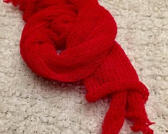 red knitted wrap.new born wrap,knitting