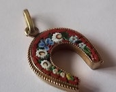 Vintage Antique Micro Mosaic Horseshoe Lucky Charm