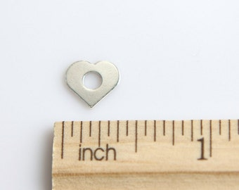 Sterling Silver Heart Charm, 925 Sterling Silver Charm, Tiny Heart Charm, Cut Out Heart Charm, Open Heart Charm, 9mm ( 1 piece )