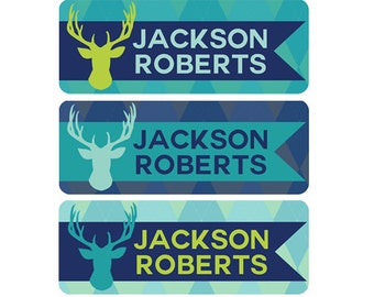 FAST SHIPPING!  Boy Daycare Name Labels, Waterproof Daycare Name Labels, Daycare Name Label, Daycare Name Tags, Boy Name Label, Deer Antlers