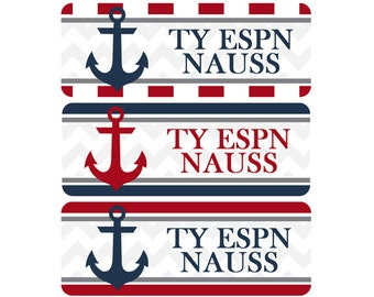 Name Labels, School Labels, Daycare Labels, Bottle Labels, Waterproof Name Labels, Nautical, Navy Blue, Red, Anchors, Chevron, Stripes
