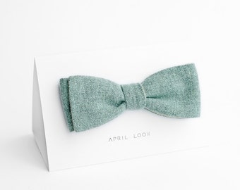 Mint bow tie, self tie bow tie, bow tie for men - double sided