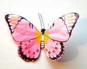 REDUCED PRICE-Antique Pink Feather Butterfly Hair Clip