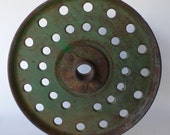Vintage metal seed spacer, wheel, rustic farm implement, green paint, from Diz Has Neat Stuff