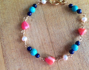 Coral Bracelet - Gold Jewelry - Turquoise - Pearl - Lapis - Gemstone Jewellery - Wire Wrapped