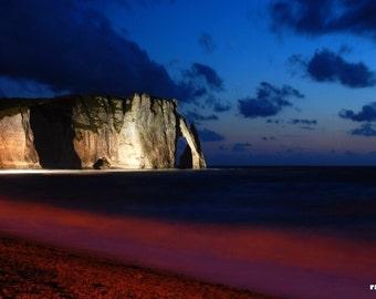 Cliffs of Etretat, Night landscape, Red and Blue art, Nautical home décor, Coastal wall art, Sea landscape, Impressionist art