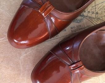 Vintage 1970s Classic Chestnut Brown Heels. Court Shoes. Size UK 5.5, US 8, Eur 38.5 NOS