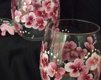 Stemless Cherry Blossom Glass