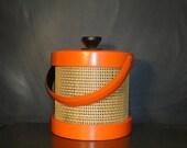 Mid Century Mod Ice Bucket Orange Vinyl Raffia Wicker Bold Bright