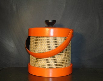 Mid Century Mod Ice Bucket Orange Vinyl Raffia Wicker Bold Bright