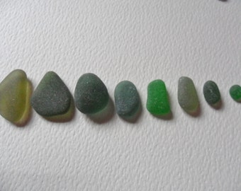 Olive, teal green & emerald sea glass - Lovely mix of 8 English beach find pieces