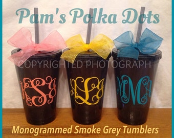 3 Personalized MONOGRAMMED Smoke GREY TUMBLERS Dark Gray Personalized with Vine Monogram in your Vinyl Color Choice and Polka Dots