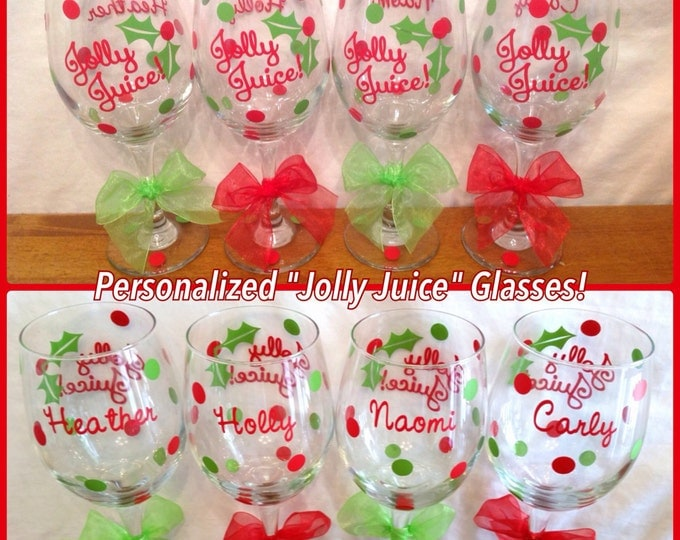 6 Personalized JOLLY JUICE Tall CHRISTMAS Wine Glasses with Name on Back & Polka Dots Bachelorette Birthday Holiday Gift
