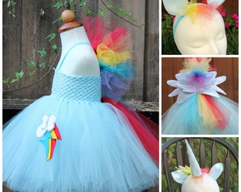 My little pony Rainbow Dash Costume -Rainbow Dash 4 item Costume -  Rainbow Dash dress - Horn, Wings