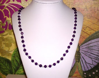 "Facheted Amethyst Purple Beads 5 - 6 mm w/ White Crystals 22"" Necklace with Toggle Clasp"