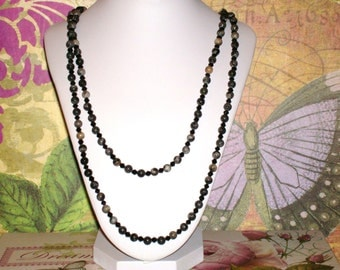 "Dark Green Agate Beads w/ Black Crystals 52"" Necklace with Toggle Clasp"