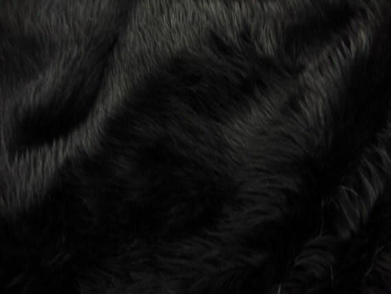 8 X 10 Black Shaggy Fur Faux Fur Rug Rectangle Shape