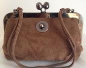 Vintage Saber (Ruth Saltz) Suede Kiss Lock Frame Handbag Soft Mocha Color