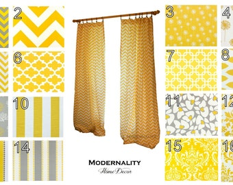 Modern Curtains- Pair of Drapery Panels- Premier Prints Yellow Curtains- 25W x 63 84 96 108 120 inch Drapes- Cafe Curtains- Grommet Add On