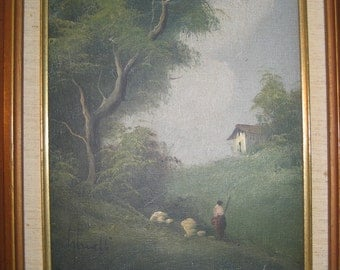 Impressionist Oil Painting by Ghianelli, 1960's Framed And Ready For Hanging, FREE SHIPPING