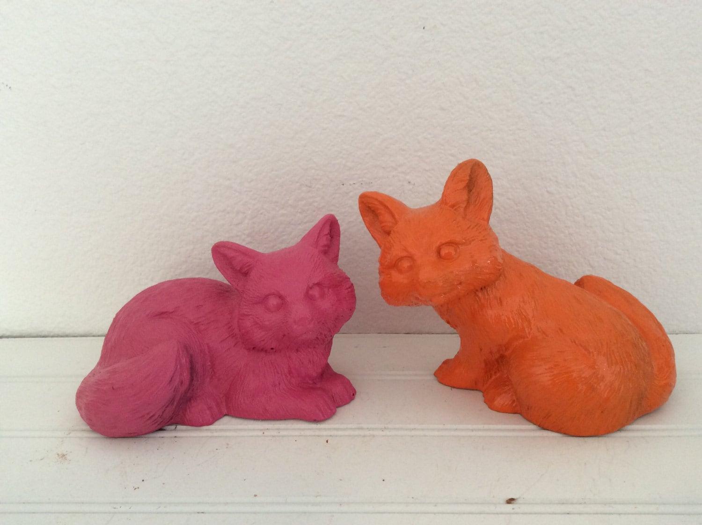 Fox Home Decor Bright Orange Pink Fox Figurines By