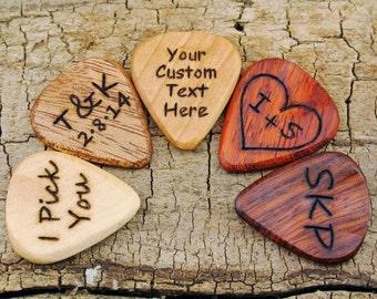 ONE CUSTOM ENGRAVED Wooden Guitar Pick - (Choose Wood Type and Design) - Wood Guitar Pick - Engraved Guitar Pick - Custom Guitar Pick