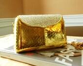 Gold Swarovski Crystal Evening Clutch Shoulder  Bag