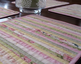 Quilted placemats – pastel placemats – pink yellow green spring – shabby chic placemats – romantic table – Boho placemats – gift for mom