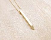 Minimalist Necklace Brass Dagger Pendant