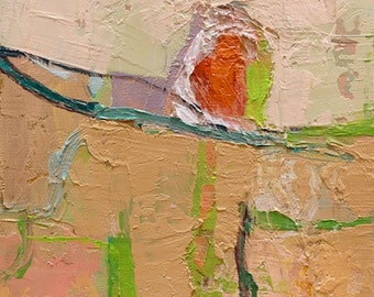 """Petrichor 88"""" Original oil landscape on canvas 6"""" x 6"""" x 1"""" Abstract, contemporary, red,blue,green, yellow"""