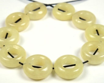 SALE - was 6.99 - Dainty Yellow Jade Small Donut Beads - 11mm x 4mm - 10 Pieces - B2218