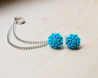 Blue Mums Silver Chain Ear Cuff Earrings (Pair)