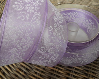 "Ribbon  Beauty Organza Decorated Lilac 1 1/2"" width 2 Yards"