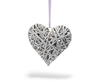 Heart Natural Wicker Grey Base