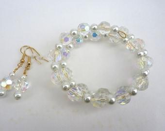 Bracelet Set, Crystal Bracelet, Crystal Earrings, Crystal and Pearls, Wrap Bracelet, Cuff Bracelet, Dangle Earrings, Bridal Jewelry