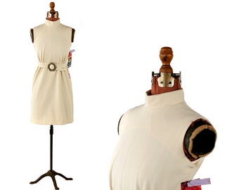 Vintage 1960's French Cream Mini Mod Baby Doll Scooter Fitted Party Dress NOS S