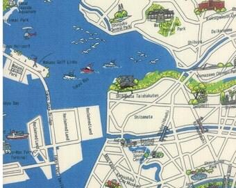 Tokyo city cotton map fabric in multi formida fabric 33011 16