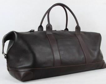 Extra large dark brown smooth genuine leather weekender bag for travel or work